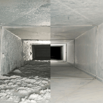 before and after of air duct after air duct cleaning, air duct cleaning minneapolis