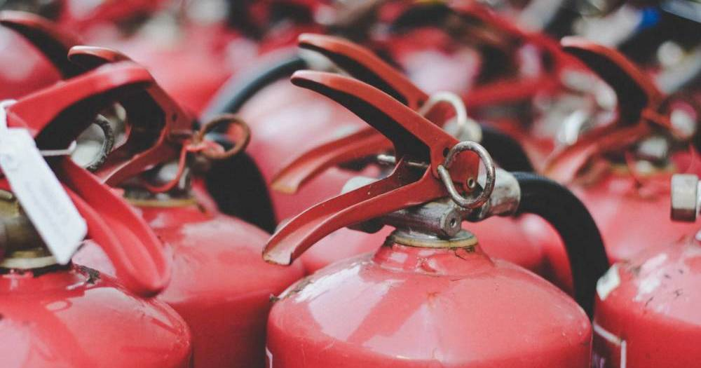 Closeup of fire extinguishers