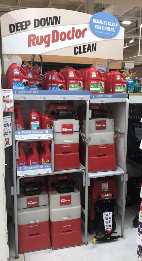 display at grocery store of carpet cleaning machine rental, display shelf. rug doctor
