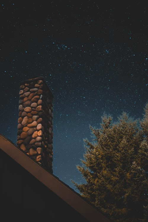 chimney in front of night sky