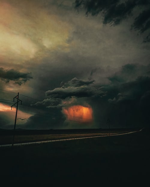 lightning strike and storm clouds